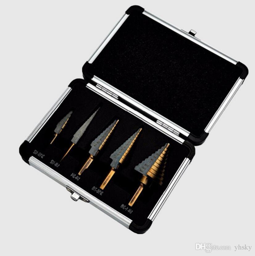 5pcs 스텝 콘 드릴 세트 금속 도구 상자에 대 한 드릴 비트 구멍 커터 전원 콘 HSS 고속 철강 여러 ferramentas