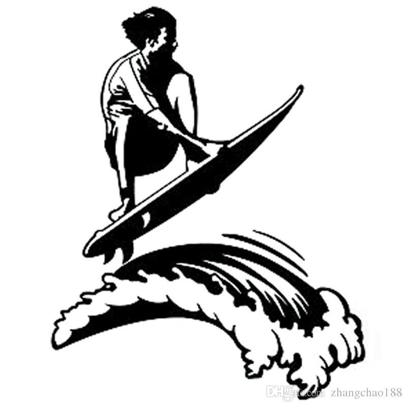 Divertida tabla de surf, estilo valiente, etiqueta auto para auto, negro / plateado, negro / plateado ca-005