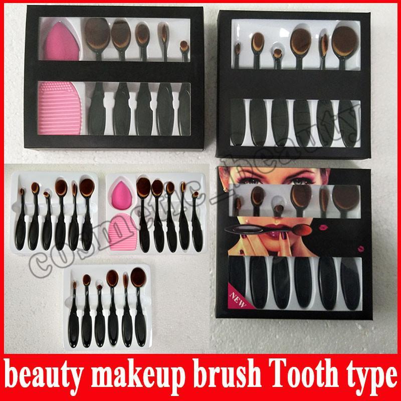 6pcs Beverly Hills Toothbrush Makeup Brushes Oval Make up Brush Set Beautiful Foundation Power Blush Blend Cosmetic Tool Kit