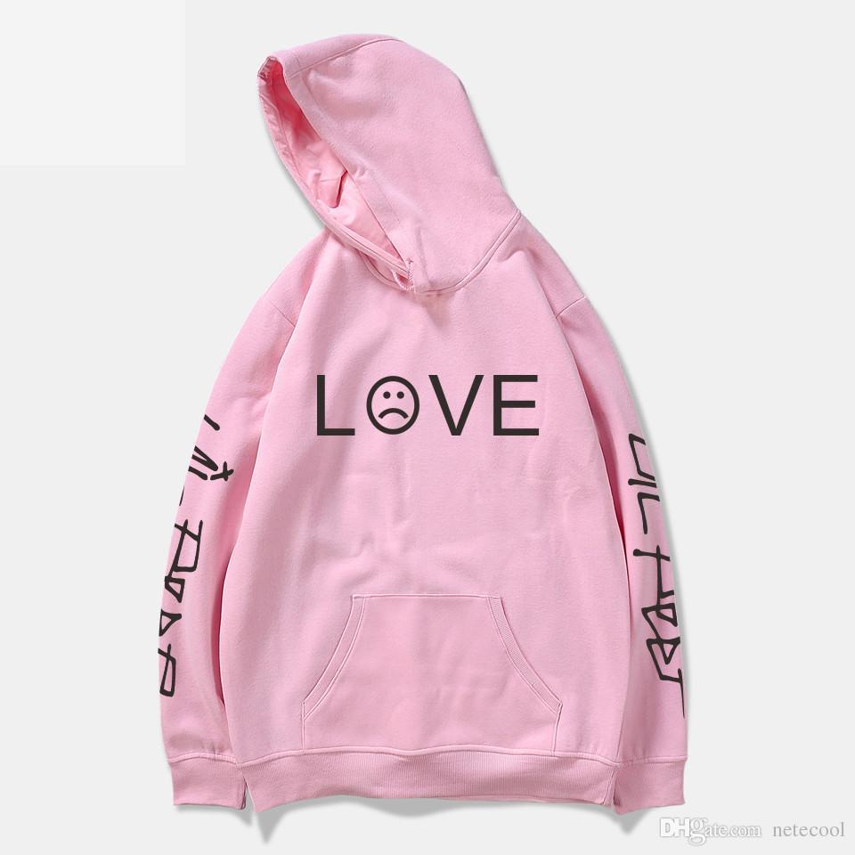 Primera marca Lil Amor Sudadera Pullover Hombres Mujeres Casual Hip Hop Rapper sudaderas Sad Face Venta Niños con capucha caliente