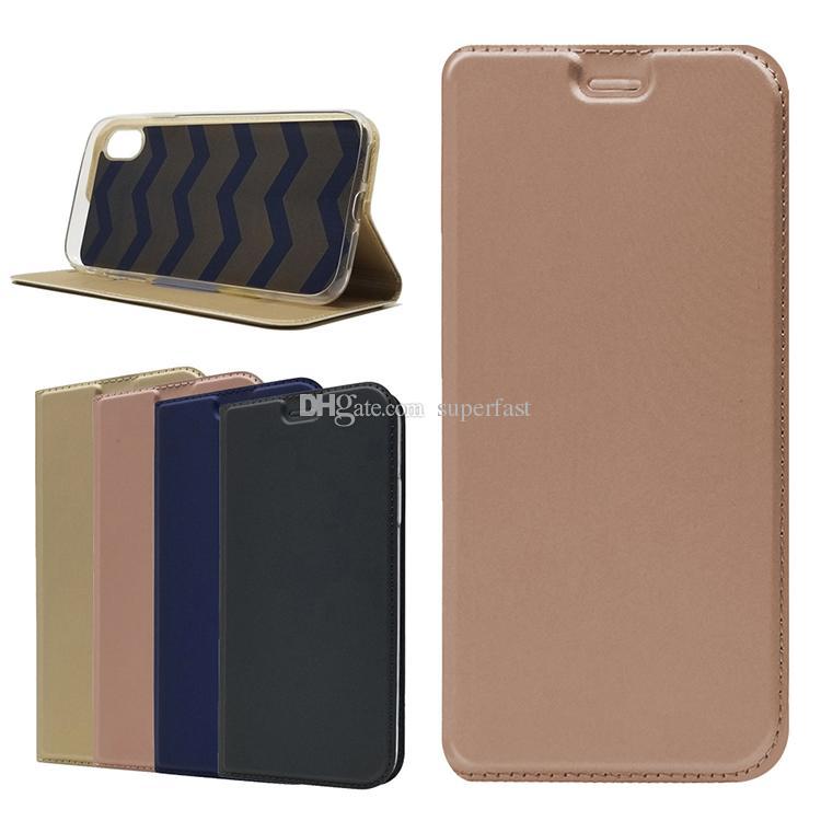 Étui portefeuille en cuir PU pour Iphone XS Max XR 8 Étui à rabat de qualité supérieure à fente pour carte Étui à tension magnétique pour Samsung S9 Note 9 LG Q6 Moto G5