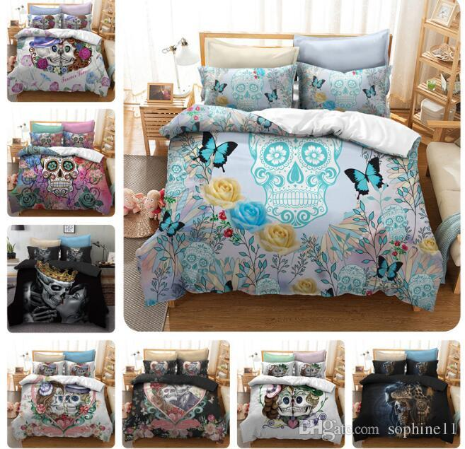 Skull Bedding Set Rose Floral Duvet Cover Set Gothic Bedclothes Colorful Stylish Home Textiles with Pillowcase