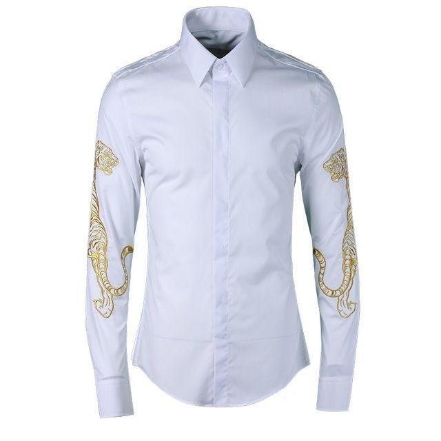 Lujo tigre bordado hombres camisa 2018 otoño fahion marca para hombre camisas delgadas de alta calidad 80% algodón de manga larga camisa masculina