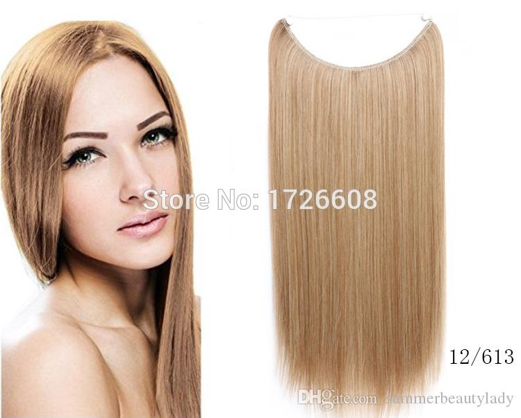 Flip Hair Weft Extension No Clip No Glue Fish Line Dritto Halo Hair Extensions Chiusura sintetica invisibile per le donne bianche