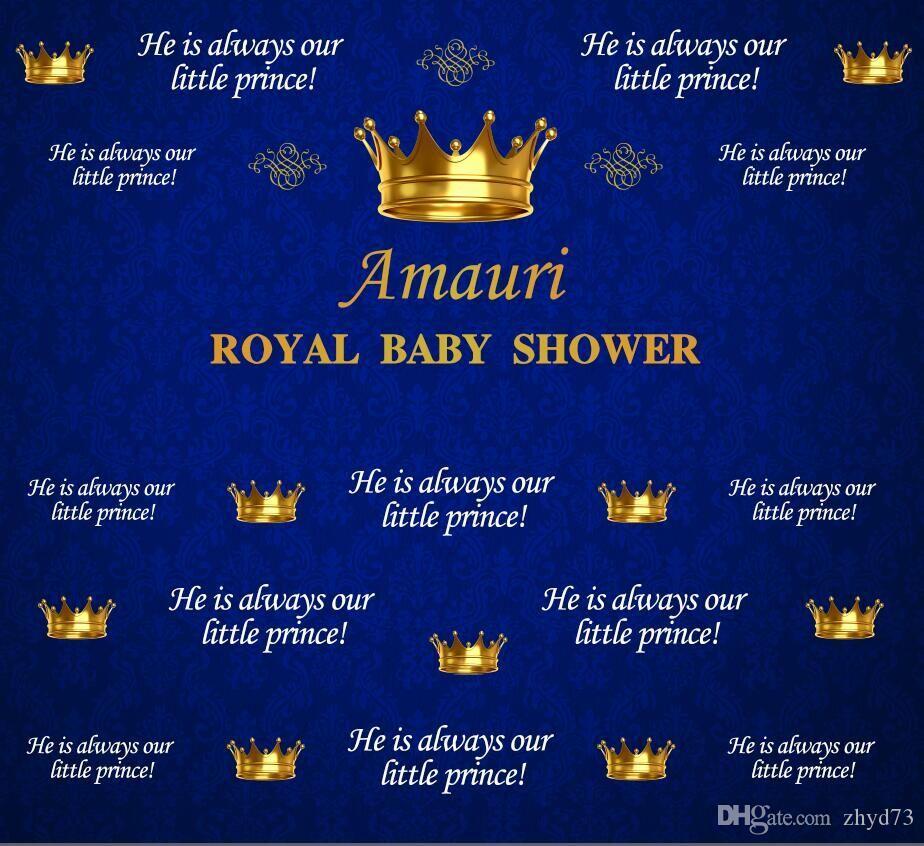 Douche en vinyle Royal Blue Prince Couronne Toile de fond Photo Studio Fond