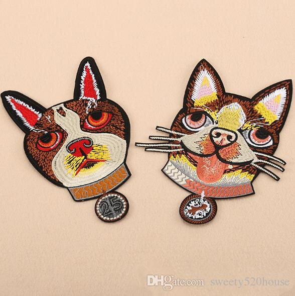2PCS/LOT DOG embroidered patches for clothing on clothes iron on patches patch applique cute stickers for clothes