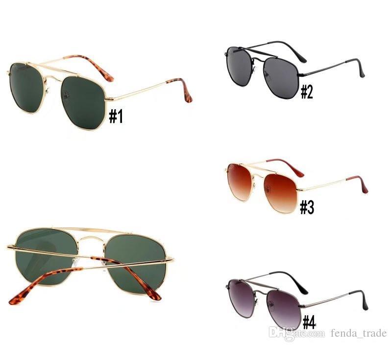 Brand New top quality Men's Sunglasses Unisex Style Metal fram UV400 gradient flash Lens vintage square Original 5 colors 3648 MOQ=10