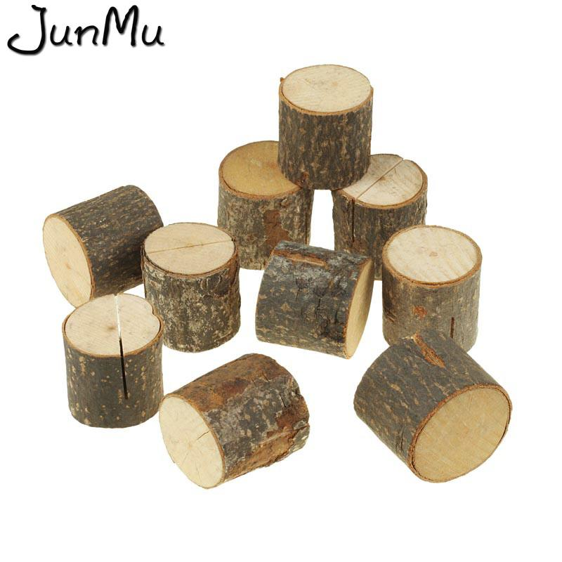 10 PCs Wooden Stump Shape Wedding Party Reception Place Card Holder Stand Number Name Table Menu Picture Photo Clip Card Holder