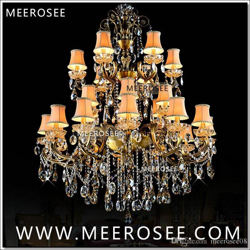 Classico Crystal Lampadario Lampadario Lampada grande 3 Tiers 24 braccia Brass Ottone antico Lampada lussuosa Lampada lucentezza MD8504-L24 D1150mm H1400mm