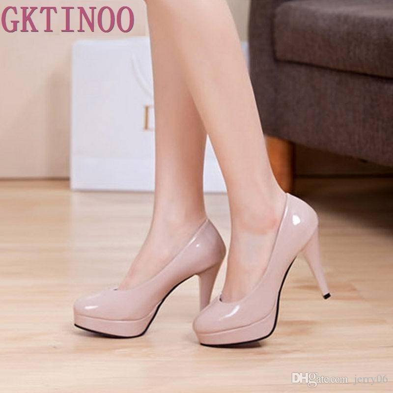 Solid color leather platform round toe high heels shallow mouth thin heels work women shoes bride wedding shoes