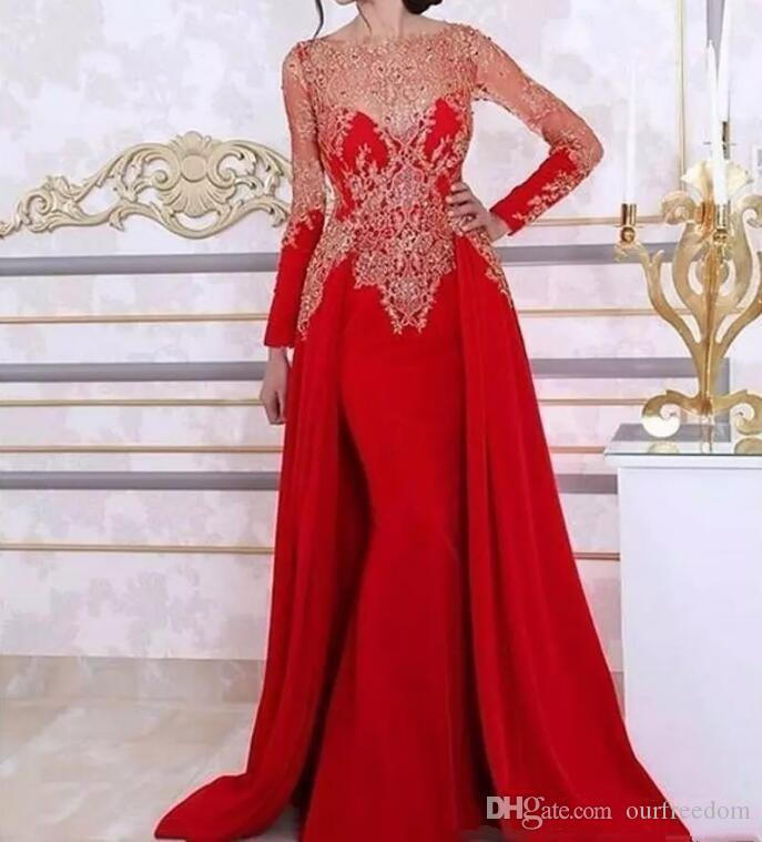 Dubai Style 2019 Red Mermaid Evening Dresses with Overskirts Lace Applique Long Sleeves Prom Formal Party Gowns