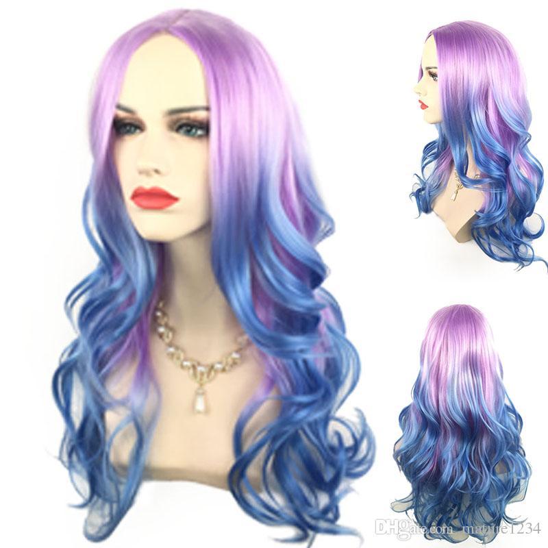 Sexy Einhorn Bunte Meerjungfrau Stil Perücke Synthetische Pastell Eis blau ombre lila Farbe Tiefe lockige Welle Haar keine Spitze Perücke / Lace Front Perücke