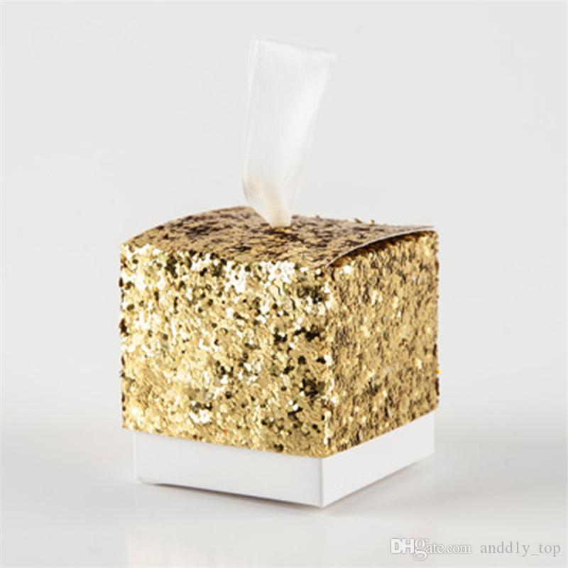 "Bling Candy Box ""All That Glitters"" Golden Glitter Favor Box For Guest Wedding Party Favor Gifts Giveaways Present Wedding Door Gift"