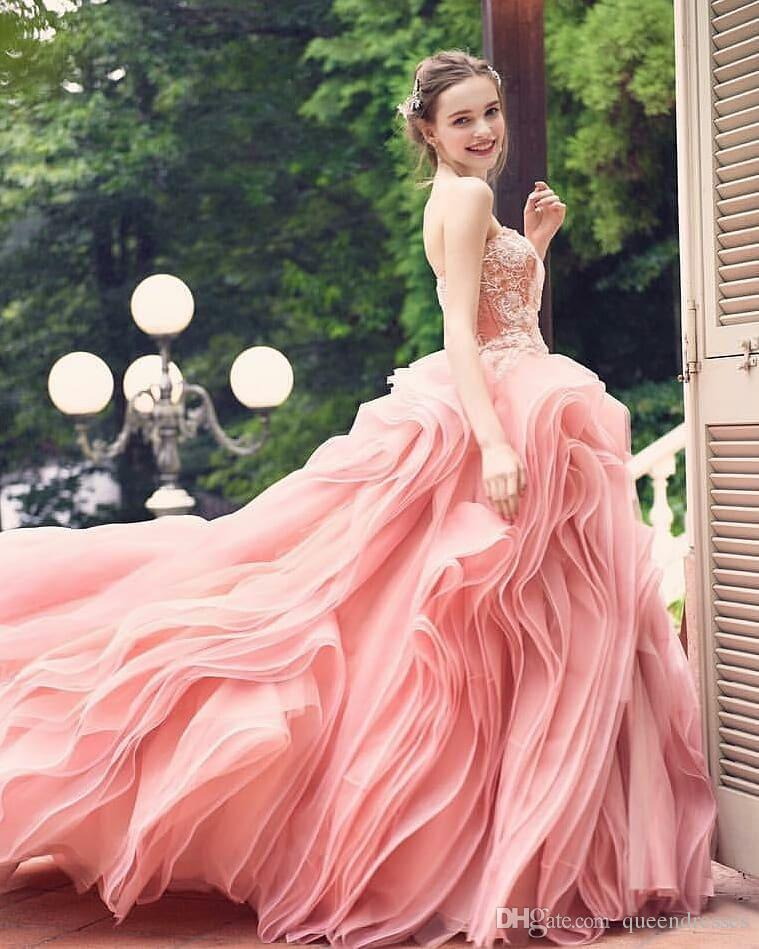 Pink Organza Wedding Dress