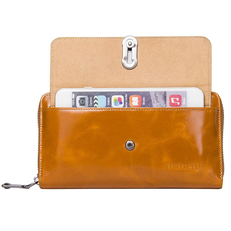 High Capacity Fashion Women Wallets Long Brand Design 2019 Retro Genuine Leather Wallet Clutch Coin Purse Lady Bag For iPhone X