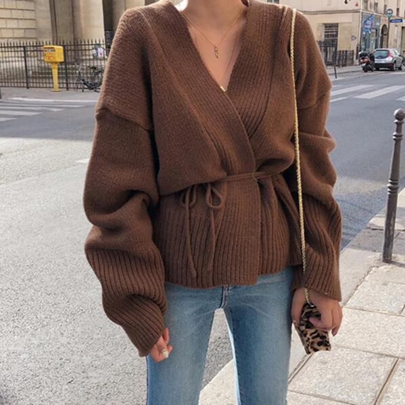 Poncho New Arrival Wool Full Jumper 2018 신사용 스웨터 게으른 바람 V 넥 굵은 루스 넥타이 니트 가디건 숄더 오프 여성