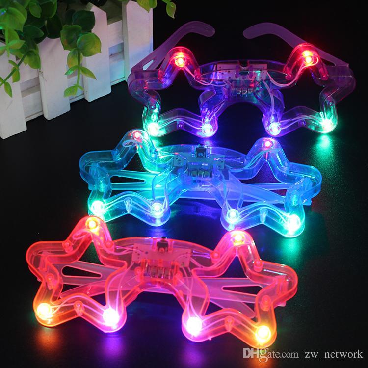 DHL LED Işık Dekor Cam Plastik Glow LED Gözlük Işık Up Oyuncak Cam Çocuklar için Parti Kutlama Neon SHow Noel Yeni Yıl süslemeleri