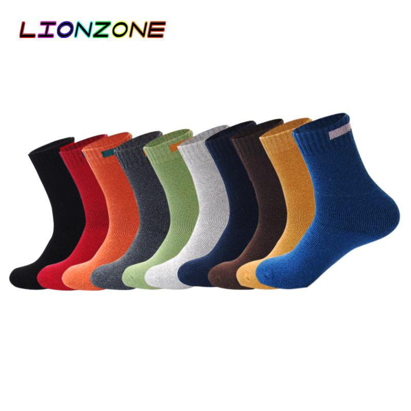 Socks wholesale LIONZONE Solid Cashmere Merino Wool Socks With Cloth Sign Design 10 Colors Winter Warm Thermal Socks