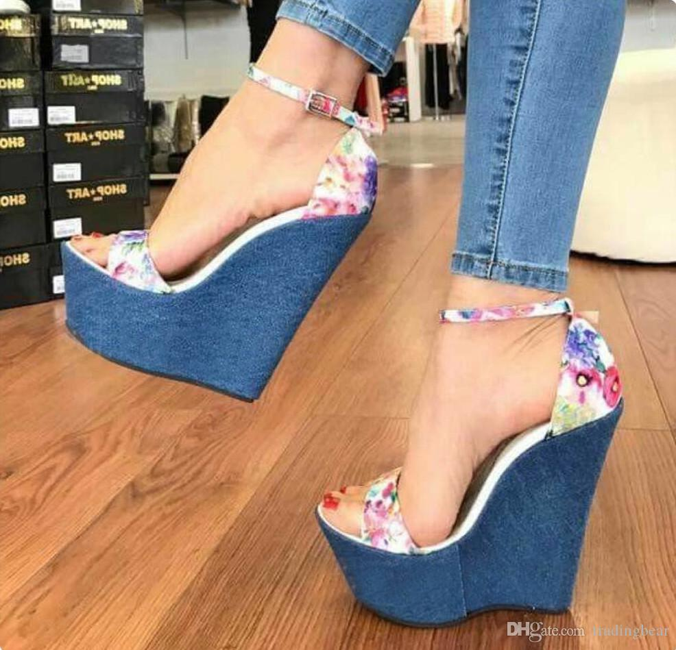 Romantic blue floral printed high heels platform wedge shoes ladies summer sandals 16cm size 35 to 40