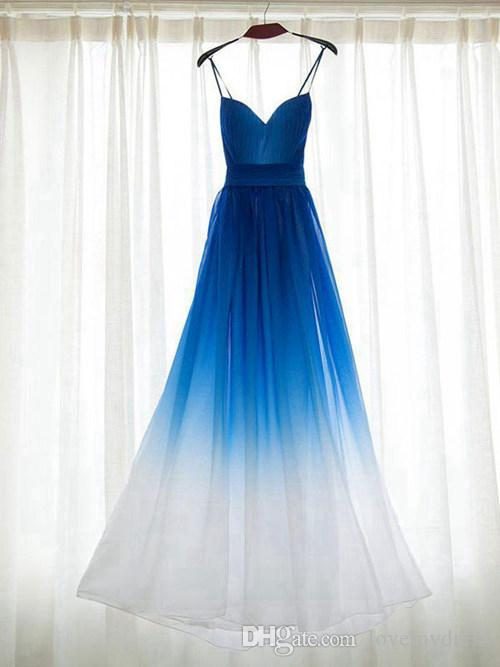 Simple Ombre Party Dresses For Women Evening Real Photos Blue To White With Straps Gradient Chiffon Empire Cheap Prom Formal Dress Under 100