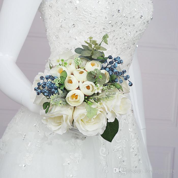 Mazzo Di Fiori Per Matrimonio.Acquista 2018 Matrimonio Boeket Avorio Verde Matrimonio Bouquet Da