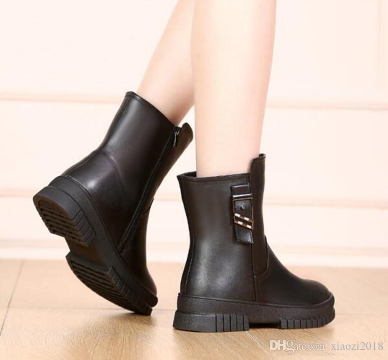 Compre 2019 Nuevo Invierno Botas De Nieve Mujer Moda Negro Cuero Genuino Mujeres Botas Cómodas Calientes Zapatos De Algodón De Lana Wedge Martin Boots
