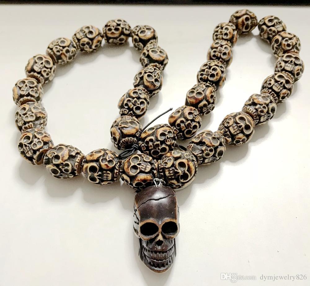 Freies Verschiffen YQTDMY Übertrieben Trendy Wunderschöne Mode Skeleton schädel Schmuck Halsband Halskette (30 schädel perlen + 1 schädel kopf)