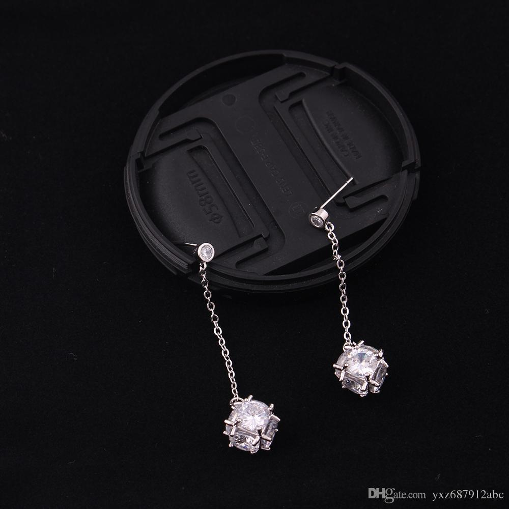 Fashion Crystal Cute White Square Cube Zircon Charm Pendent Studs Dangle Earrings For Women Long Ear Line Wire Jewelry