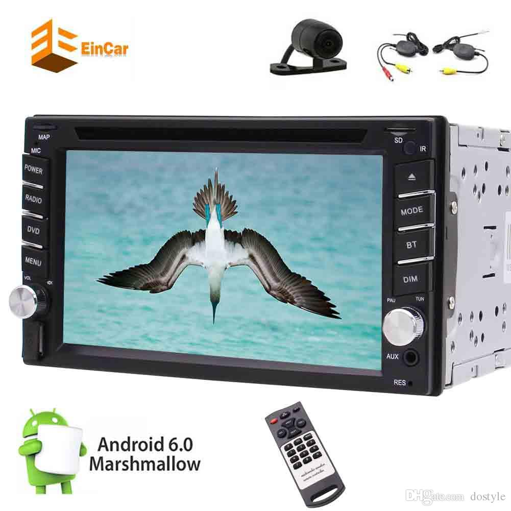 """Wireless Backup Camera MIC+Eincar Android6.0 Marshmallow Car dvd Stereo Radio 6.2"""" Digital Touch Screen Double 2Din Head Unit Steering Wheel"""