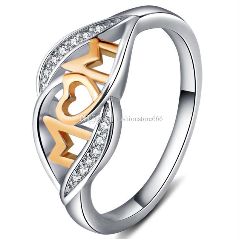 18 k oro rosa amor mamá anillo de corazón de mamá joyería de diamantes de cristal color de remolque color brillante joyería de diamantes de imitación regalo de cumpleaños del día de la madre