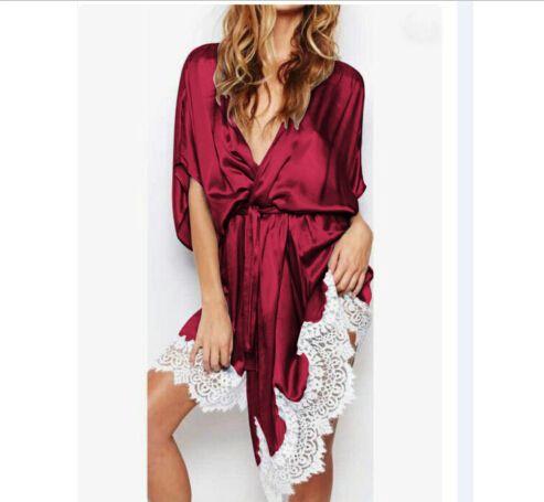 Fashion Women Sexy Silk Lace Nightwear Sleepwear Night Robe One Piece Bathroom Grown Half Sleeve Soft Clothes