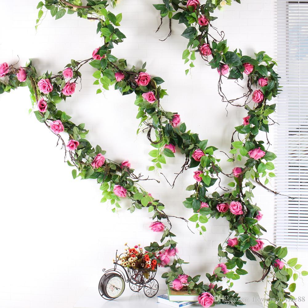 Suspensão decorativa Rosas De Seda Hera Videira com Folhas Verdes Para Casa Decoração Da Parede Do Casamento folhas Falso diy Guirlanda de Suspensão Flores Artificiais