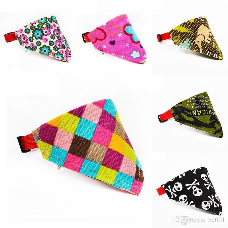 Fashion Dog Triangle Scarf Colorful Cloth Adjustable Neckerchief Multi Pattern Cute Classic Design Puppy Collars Hot Sale 3sr ff