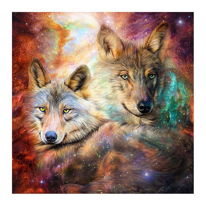 Nueva pintura del diamante 5D dos decoración fresca del dormitorio de la sala del nudo del wolve