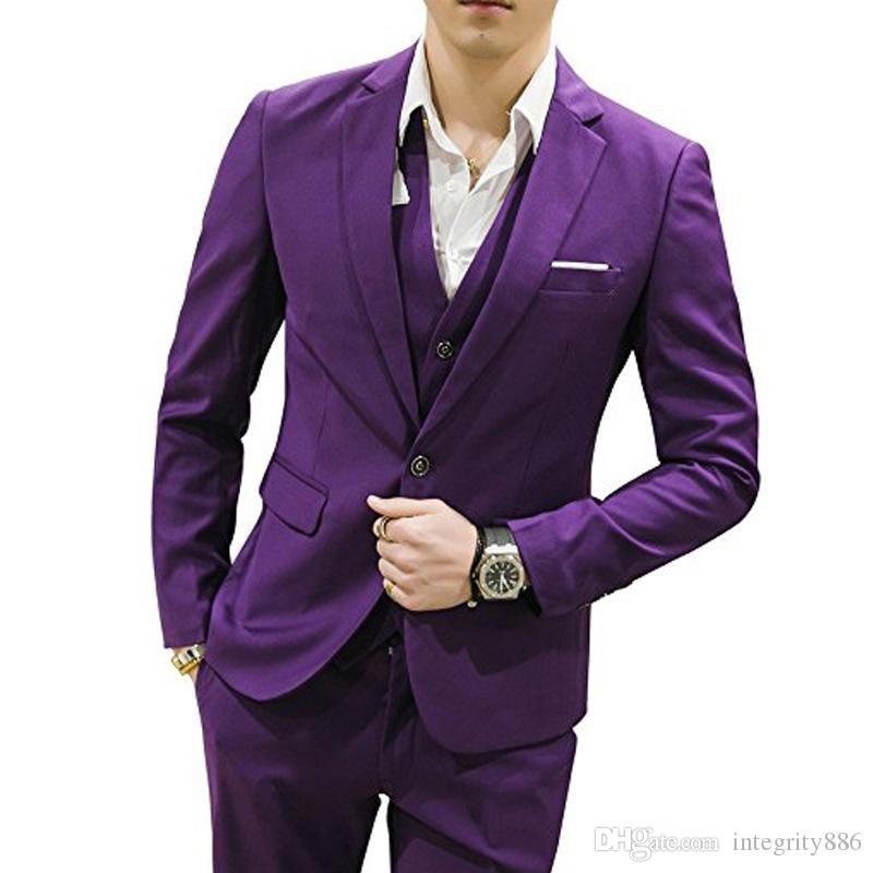 Fashio Violet Hommes 3 Pièce Costume De Mariage Tuxedos Excellent Marié Tuxedos Notch Revers Centre Vent Hommes Dîner Prom Blazer (Veste + Pantalon + Cravate + Gilet)