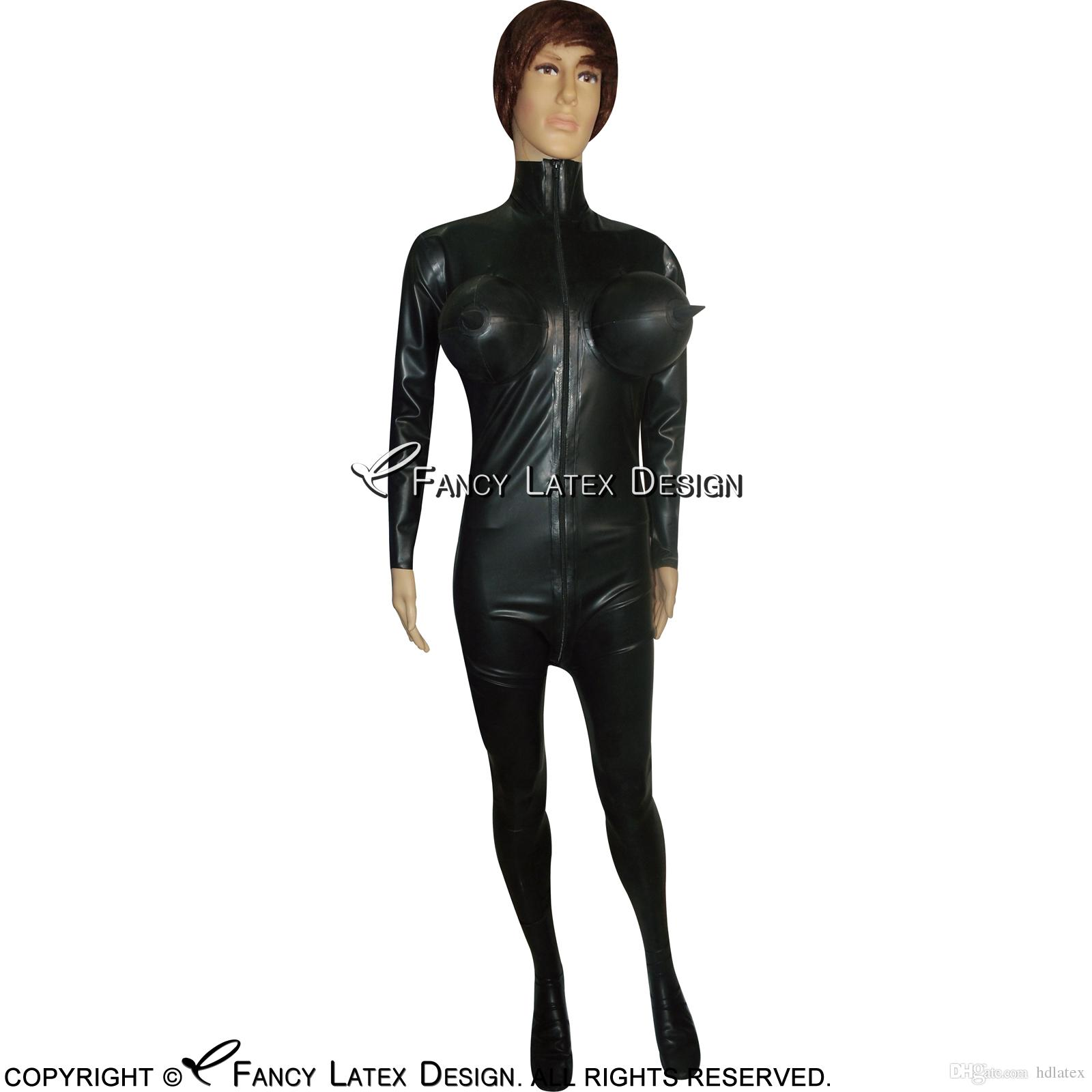 Brand New Rubber Latex Black Suit Body Catsuit Black one size