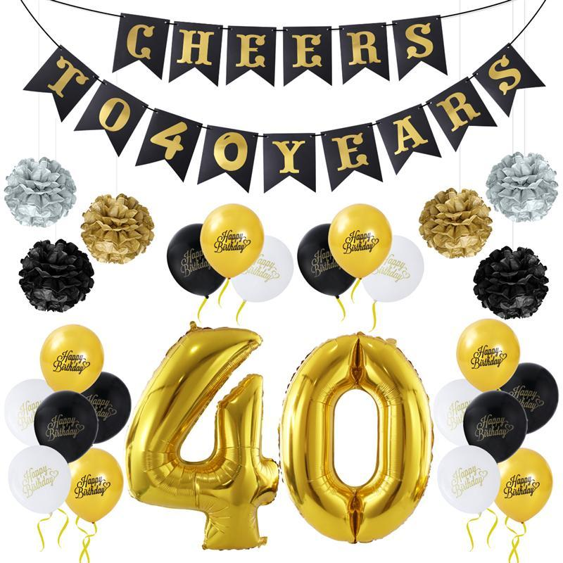 UNOMOR DIY Tissue Flowers Pom Poms Paper Garland Banner Balloons Kit per la decorazione del quarantesimo compleanno