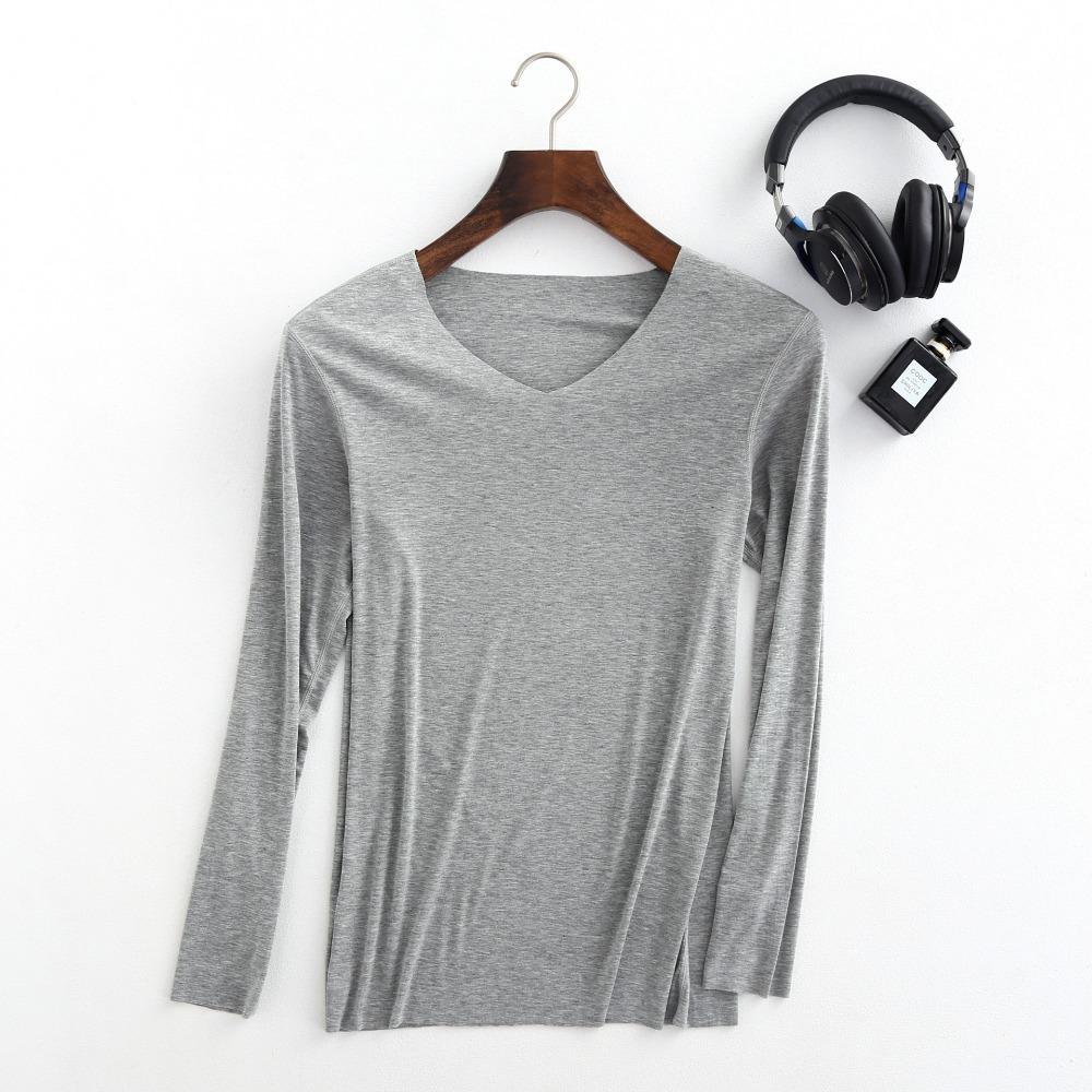 Undershirts outono e inverno fino macho sólido vg pescoço undershirt manga longa plus size sem costura confortável camisa johns