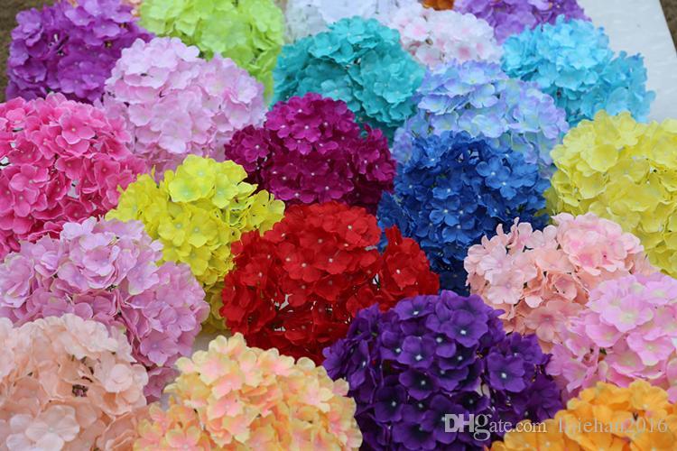 Yapay Çiçekler 19 CM İpek 27 Yapraklı Çiçekler Baş Ortanca Buket Düğün için, Oda, Ev, Otel, Parti Dekorasyon ve Tatil Hediye 37 Renk