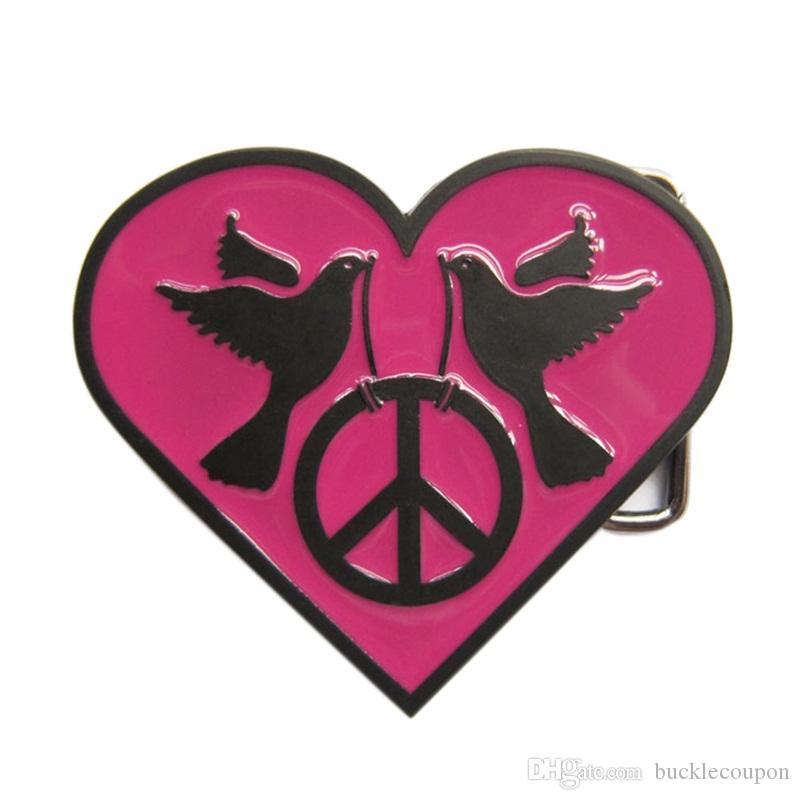 Nuevo corazón con el signo de la paz Esmalte rosado oscuro Vida silvestre occidental Boda de época Traje Hebilla de cinturón Gurtelschnalle Boucle de ceinture