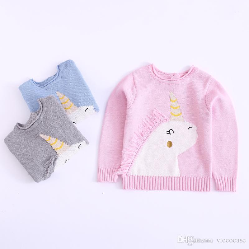 Vieeoease Boys Girls Sweater Christmas Unicorn Kids Pullover 2018 Autumn Fashion Classic Knitting Long Sleeve Sweater EE-1410