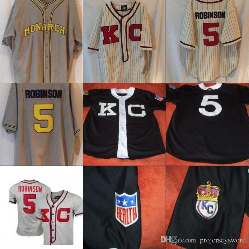 # 5 재키 로빈슨 캔자스 시티 군주 흑인 리그 저지 100 % 스티치 사용자 정의 야구 유니폼 모든 번호 S-XXXL 모든 이름