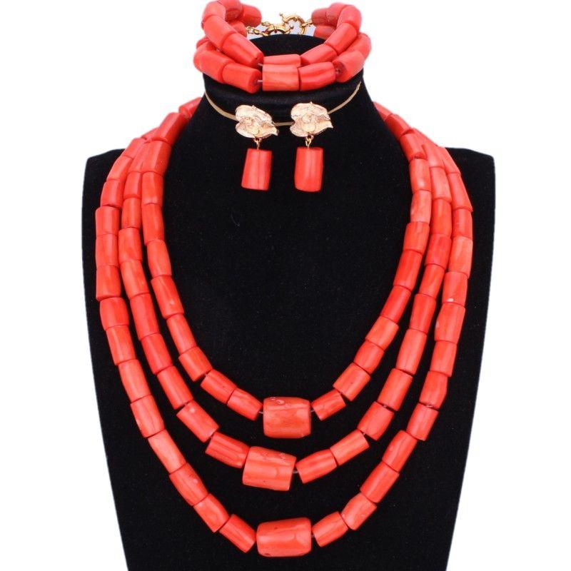 Chunky perlas originales de coral Conjunto de joyas para las bodas de Nigeria naranja o novia joyería nupcial roja africana collar de la mujer
