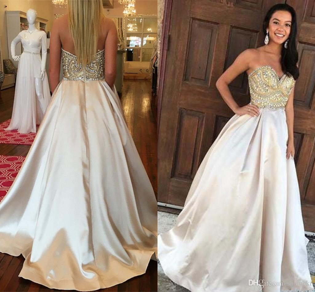 2019 New Sweetheart Sleeveless A Line Prom Dresses Beaded Strapless Zipper Sweep Train Evening Dresses Party Prom Gowns Custom Made