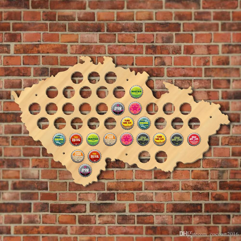 Czech Republic Beer Cap Map Pub Bar Beer Bottle Cap Display Holder Patriotic Czech Map Wooden Wall Sign Man Cave Beer Lover Gift