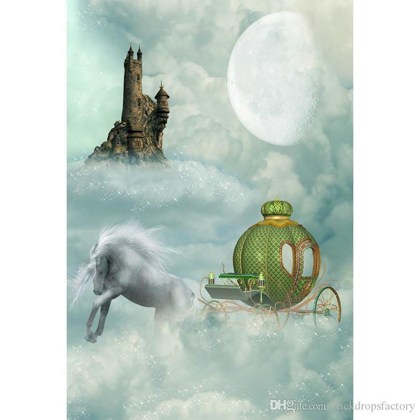 Conte de fées de conte de fées photo cabine de fond imprimé vert chariot épais nuages lune vieux château bébé enfants décors d'anniversaire
