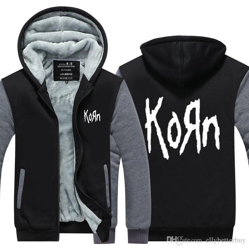 Yeni Korn Band Kaşmir Hoodie Yeni Kış Kalınlaşmak polar Pamuk Fermuar Casual Kaban Ceket Süper Kazak ABD, AB Boyutu Artı Boyutu Isınma