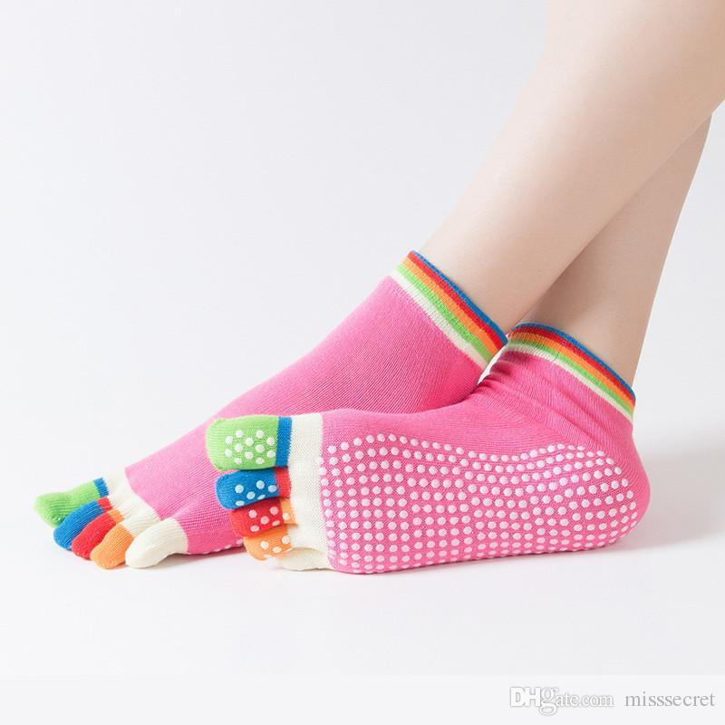 14 renkler kadınlar yoga ayak çorap spor salonu dans spor egzersiz beş parmaklar çorap pilates pamuk sox nefes anti kayma ayak çorap