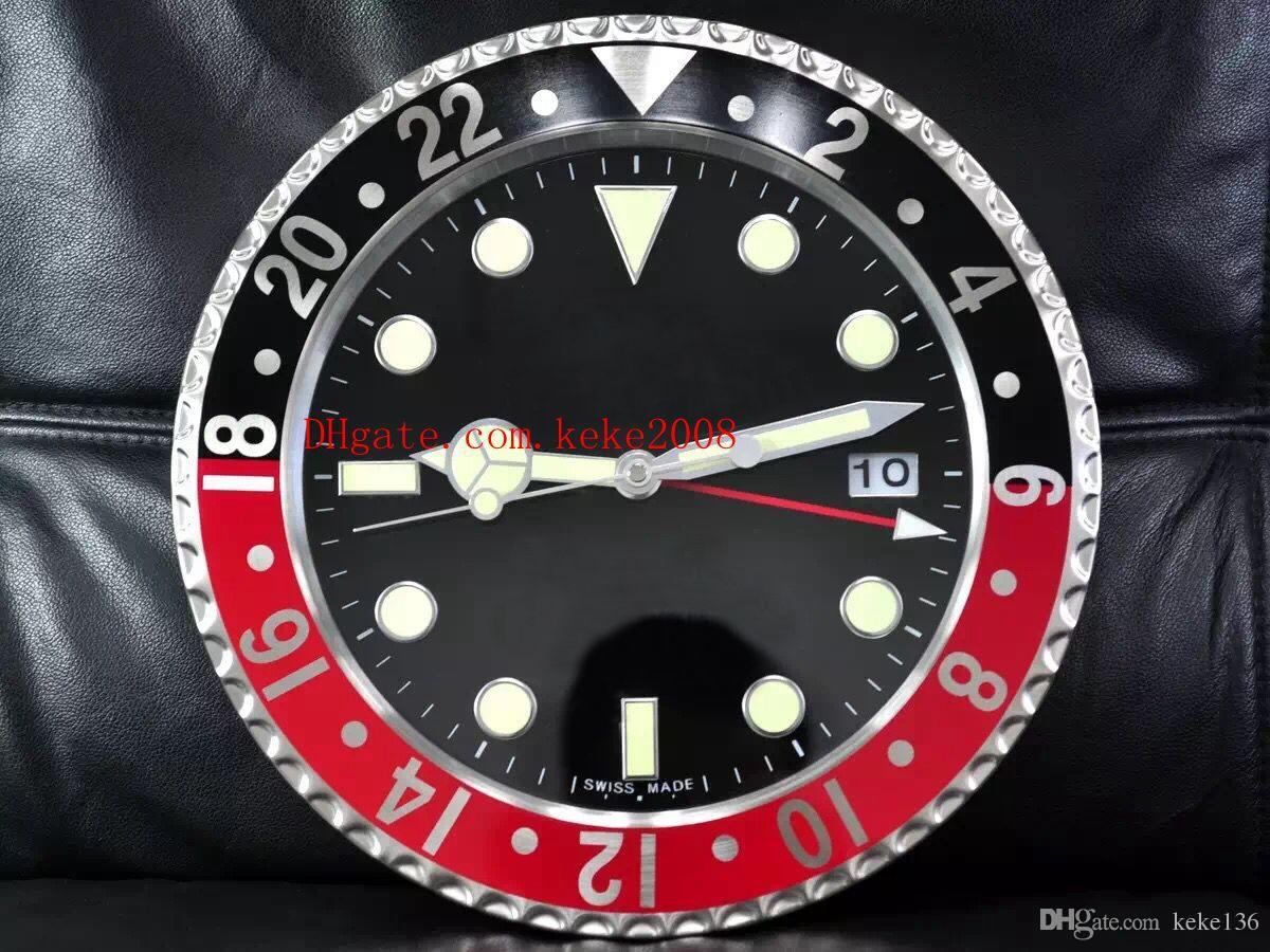 8 Stil Luxus Hochwertige Uhr Wanduhr 34 CM x 5 CM 3 KG Edelstahl Quarz Elektronische Blaue Leuchtende Uhr