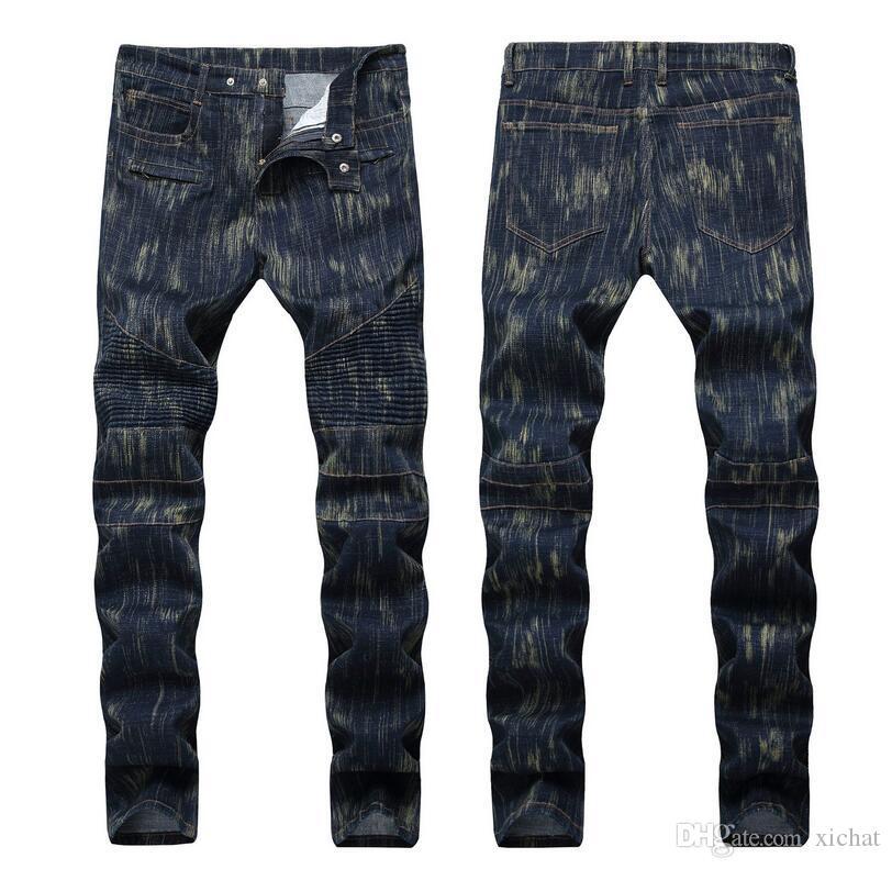 Männer Slim Fit Jeans Mode Designer Gerade Bein Plissee Getäbchen Biker Kausal Zip Mens Falten Stretch Denim Pants Streetwear Hose für männliche QKN1388